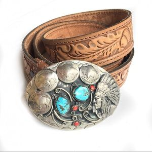 Accessories - Vintage Comanche Turquoise Leather Belt
